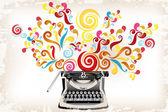 Creativity - typewriter with abstract swirls — Stock Vector
