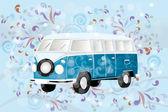 Retro van with colorful swirls — Stock Vector