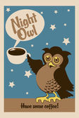 Night owl poster — Stock Vector