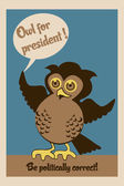 Sowa na prezydenta plakat — Wektor stockowy