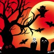 Stock Vector: Illustration for Halloween with spooky design elements