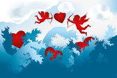Sea of love - cupids on heart hunting — 图库矢量图片