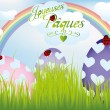 Stock Vector: French Easter card with rainbow, eggs in green grass and ladybug