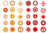 Various logo-designs in red and orange colors isolated over whit — Stock Vector