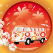 Stock Vector: Retro bus with floral patterns