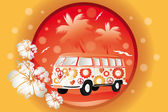 Retro bus with floral patterns — Stock Vector