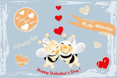Two cute bees in love — Stock Vector