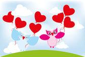 Cartolina d'auguri di san valentino giorno bella gufi — Vettoriale Stock