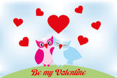 Valentine day lovely owls greeting card — Vettoriale Stock
