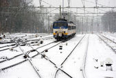Train in snow — Stock Photo