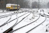 Train in snow — Stock Photo
