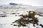 Zaśnieżonych wsi w islandii — Zdjęcie stockowe