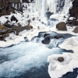 Stock Photo: Waterfall in pingvellir valley