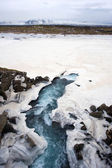 Wodospad w pobliżu pingvellir dolina — Zdjęcie stockowe