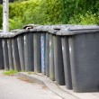 Stock Photo: Grey wheelie bins