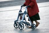 Grandma with walker — Stock Photo