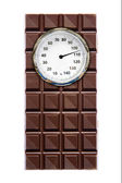 Weight Scale and chocolate — Stock Photo