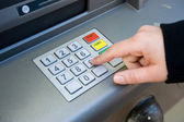 Pin code at ATM machine — Stock Photo