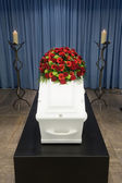 Coffin in morque — Stock Photo