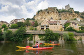 Kayaking on the river Dordogne — Stock Photo