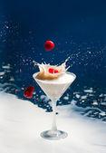 Milk-shake com framboesas — Foto Stock