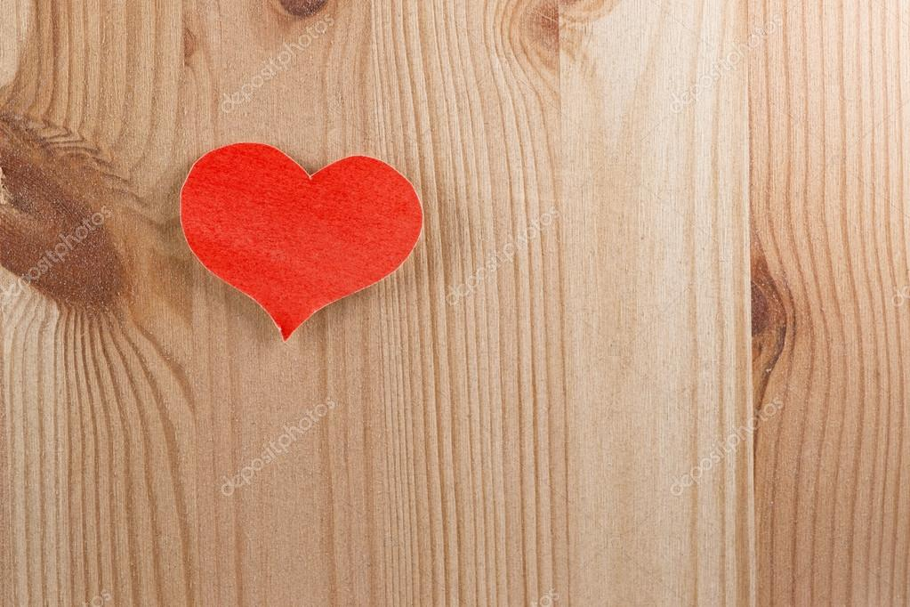 Wooden background with paper heart  Stock Photo #18825445