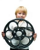 Boy with film — Stock Photo