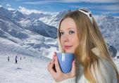 Blonde with mug — Stock Photo
