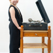 Boy with the phonograph - Stockfoto