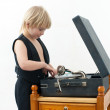 Boy with the phonograph — Stock Photo