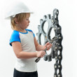 Boy with spanner — Stock Photo