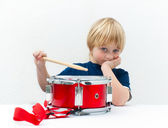 Bored drummer — Stock Photo