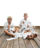 Two boys and toilet paper — Stock Photo