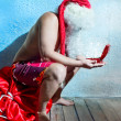 Santa Claus with the gift — Stock Photo