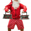 SantClaus with irons — Stock Photo #35298517