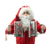 Santa Claus with the irons — Stock Photo