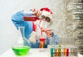 Santa Claus with drinks — Stock Photo