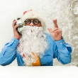 Santa Claus with clock — Stock Photo