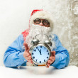 Santa Claus with clock — Stock Photo #37480211