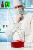 Flask in the laboratory — Stockfoto