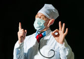Portrait of crazy doctor — Stock Photo