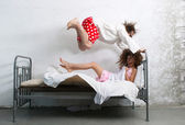 Funny couple in the bed — Stock Photo
