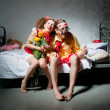 Stockfoto: Loving couple on bed