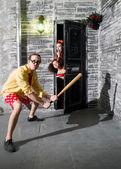Woman at the door — Stock Photo