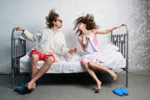 Casal na cama — Fotografia Stock