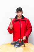 Worker with hammer — Stock Photo