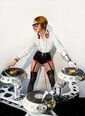 Disc jockey girl — Stock Photo