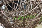 Woven wicker or bamboo balls — Stock Photo