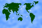 Airplanes over blue map with routes — Stock Photo