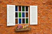 Window with flower pots. — Foto Stock